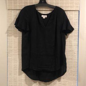 Velvet brand. Black linen short sleeve V-neck. Med